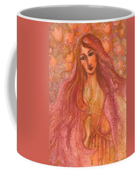 Silk Coffee Mug featuring the painting Autumn With Gold Flower by Rita Fetisov