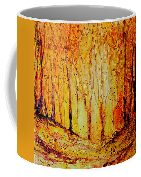 Landscape Coffee Mug featuring the painting Autumn Woods by Ruth Harris