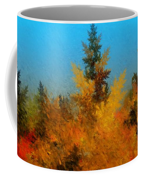 Abstract Digital Painting Coffee Mug featuring the digital art Autumnal Forest by David Lane