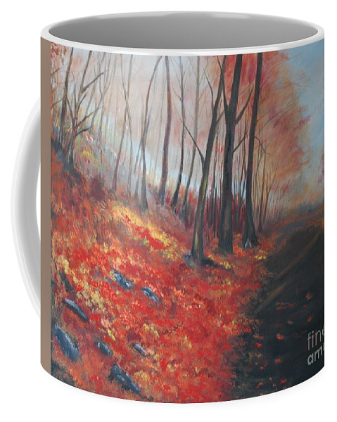 Painting Coffee Mug featuring the painting Autumns Pathway by Leslie Allen