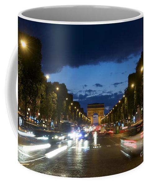 Paris Coffee Mug featuring the photograph Avenue Des Champs Elysees. Paris by Bernard Jaubert