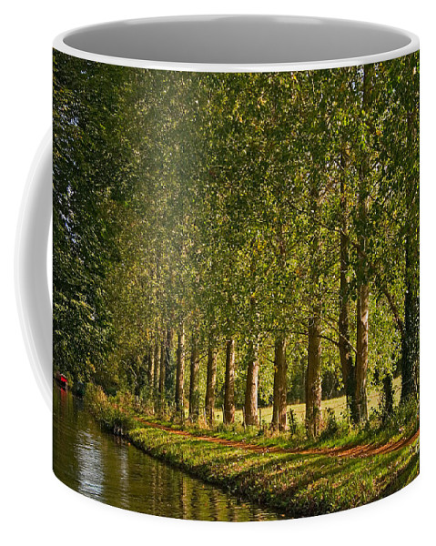 Travel Coffee Mug featuring the photograph Avenue Of Trees On The Kennet And Avon Canal by Louise Heusinkveld