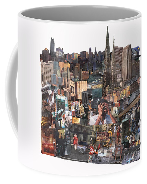 City Coffee Mug featuring the mixed media Avoidance Aka Sit And Stand by Jaime Becker