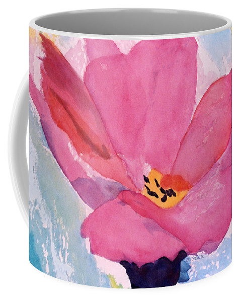 Abstract Single Pink Flower Oversize Canvas Coffee Mug featuring the painting Awakening by Betty Pehme
