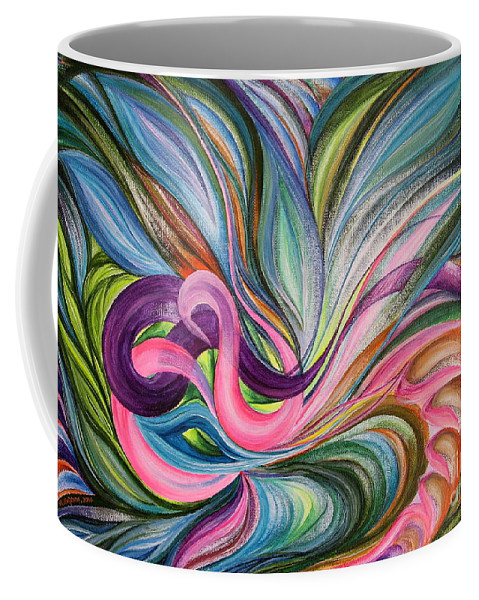 Abstract Coffee Mug featuring the painting Awakening 1 by Maya Bukhina