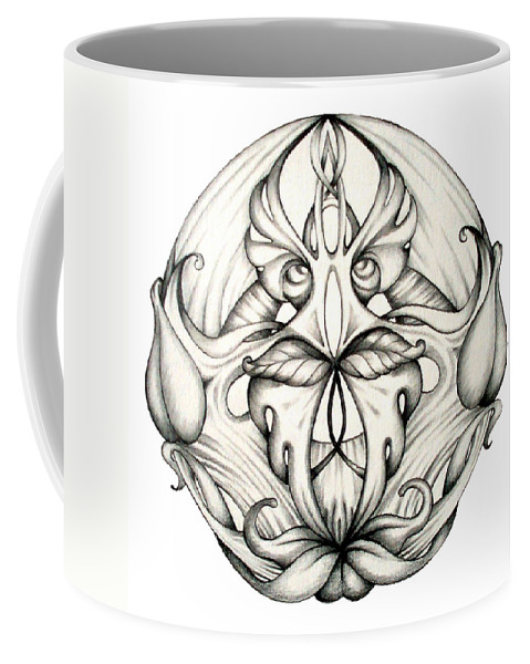 Mandala Coffee Mug featuring the drawing Awakening by Shadia Derbyshire