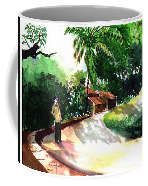 Water Color Watercolor Landscape Greenery Coffee Mug featuring the painting Awe by Anil Nene