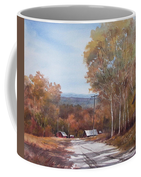 Landscape Coffee Mug featuring the painting Awesome Autumn by Tina Bohlman