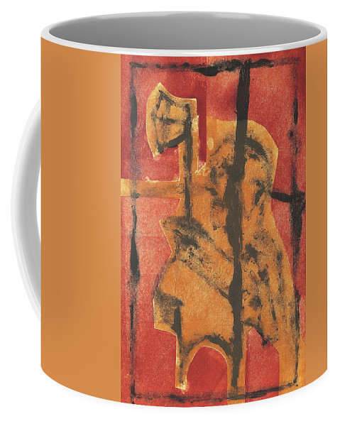 Axeman Coffee Mug featuring the relief Axeman 14 by Artist Dot
