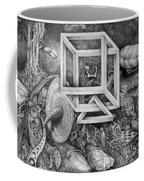 Drawing Coffee Mug featuring the drawing Axis Mundi by Otto Rapp