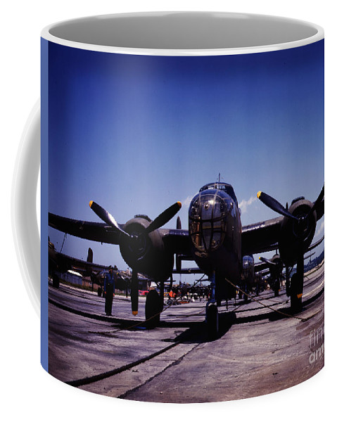 B-25 Bombers On The Outdoor Assembly Line At North American Aviation Coffee Mug featuring the painting B-25 Bombers by Celestial Images