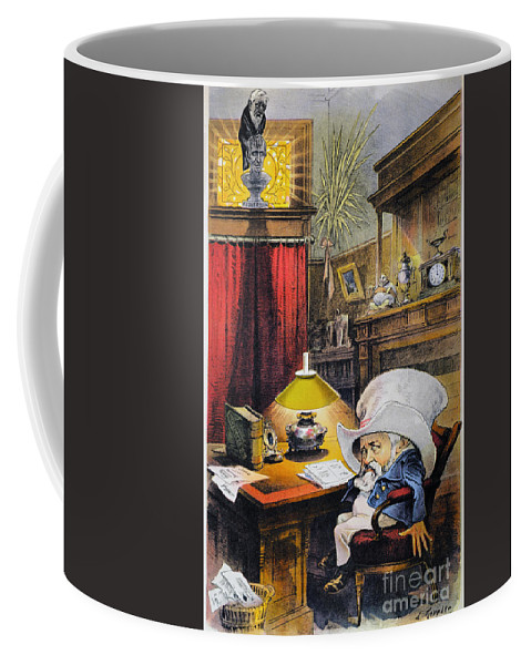 1892 Coffee Mug featuring the photograph B. Harrison Cartoon, 1892 by Granger