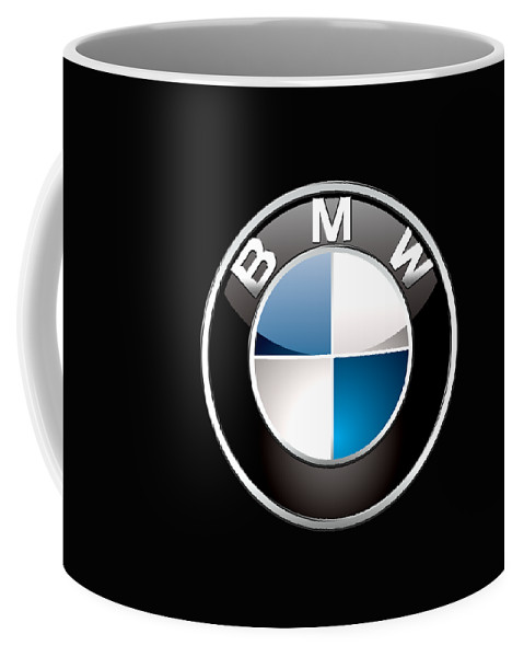 �wheels Of Fortune� Collection By Serge Averbukh Coffee Mug featuring the photograph B M W 3 D Badge on Black by Serge Averbukh