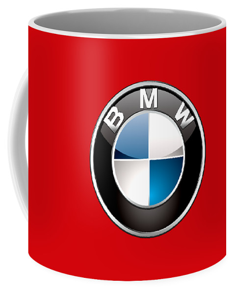 'auto Badges 3d' By Serge Averbukh Coffee Mug featuring the photograph B M W Badge On Red by Serge Averbukh