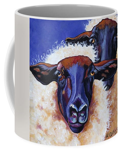 Sheep Coffee Mug featuring the painting Ba Ba Black Sheep by Rose Collins