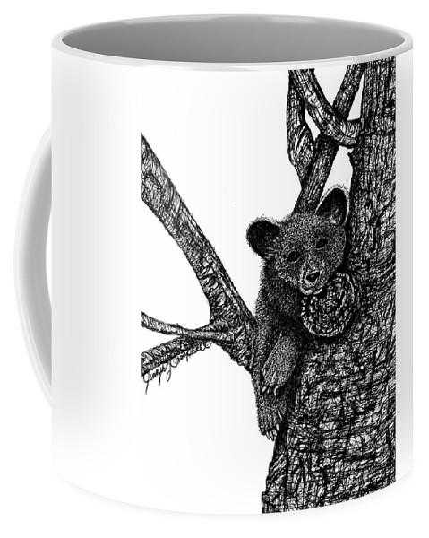 Jennifer Campbell Brewer Coffee Mug featuring the drawing Baby Bear by Jennifer Campbell Brewer