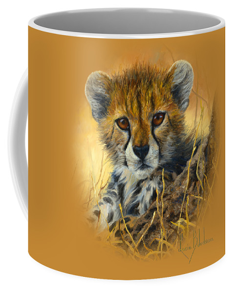 Cheetah Coffee Mug featuring the painting Baby Cheetah by Lucie Bilodeau