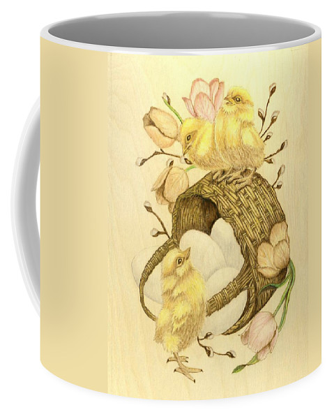 Chicks Coffee Mug featuring the pyrography Baby Chicks by Danette Smith
