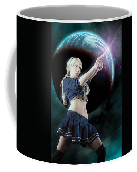 Action Figure Coffee Mug featuring the photograph Baby Doll Shoots Back by Rikk Flohr