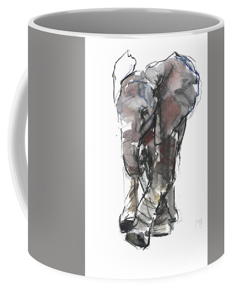 Baby Elephant Study Coffee Mug featuring the painting Baby Elephant Study by Mark Adlington