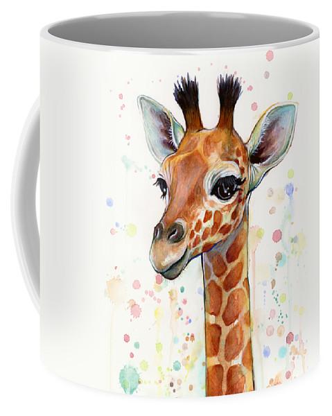 Watercolor Coffee Mug featuring the painting Baby Giraffe Watercolor by Olga Shvartsur