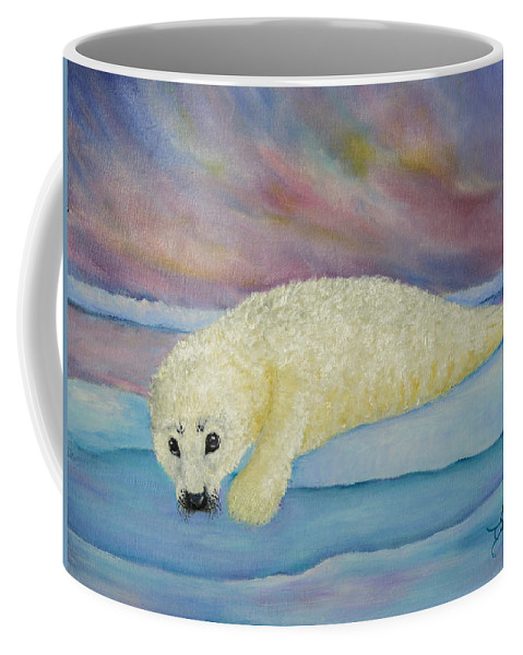 Seal Coffee Mug featuring the painting Baby Harp Seal by Dee Carpenter