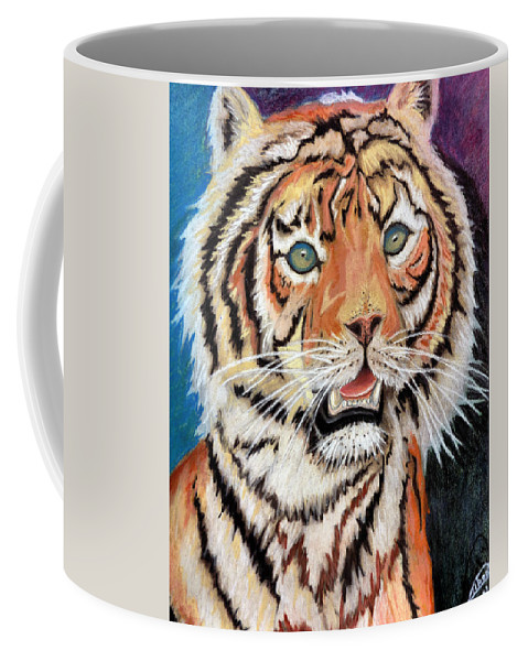 Tiger Coffee Mug featuring the pastel Baby Tiger by Alban Dizdari