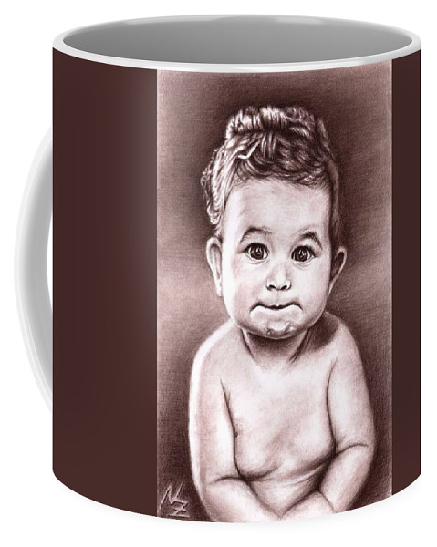 Baby Child Kind Enfant Face Sepia Charcoal Portrait Realism Coffee Mug featuring the drawing Babyface by Nicole Zeug