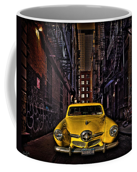 Alley Coffee Mug featuring the photograph Back Alley Taxi Cab by Chris Lord