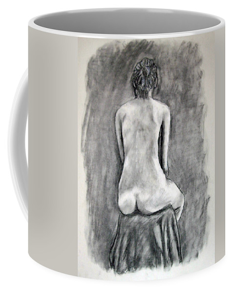 Back Coffee Mug featuring the drawing Back Beauty by Jean Haynes