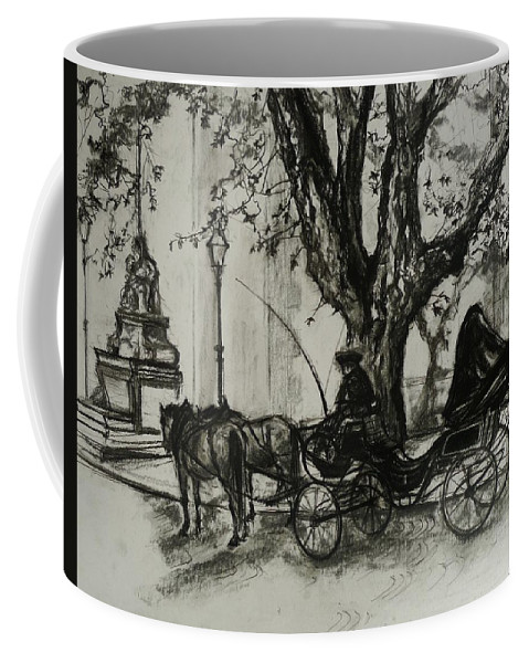 Horse And Carriage Coffee Mug featuring the drawing Back In Time by Veronica Coulston