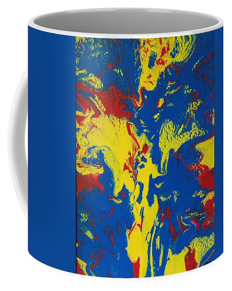 Acrylic Pour Canvas Sylacauga Abstract Bright Blue Red Green Yellow Purple Orange Black White Geo Gallery Terry Bollman Acrylix Acrylixbyterry Coffee Mug featuring the painting Back To Basics II by Terry Bollman