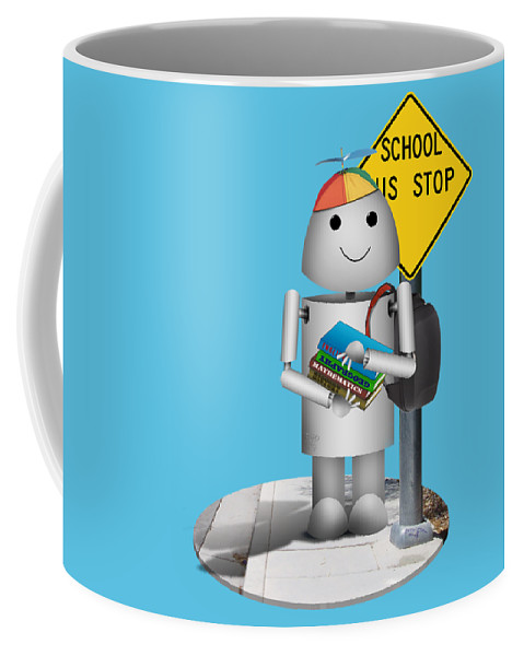 Back To School Coffee Mug featuring the mixed media Back To School Little Robox9 by Gravityx9 Designs