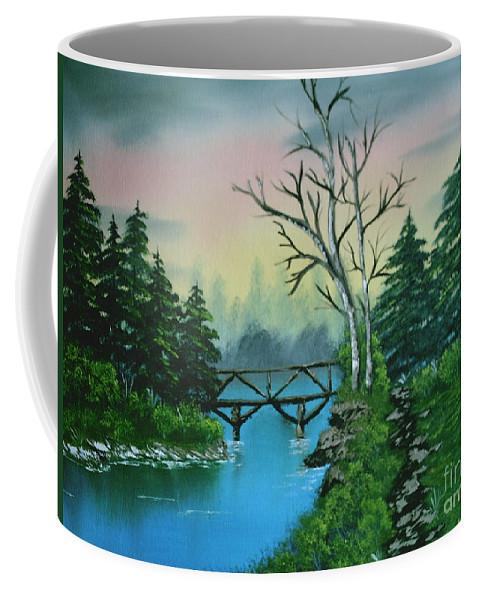 Landscape Coffee Mug featuring the painting Back Woods Bridge by Jim Saltis