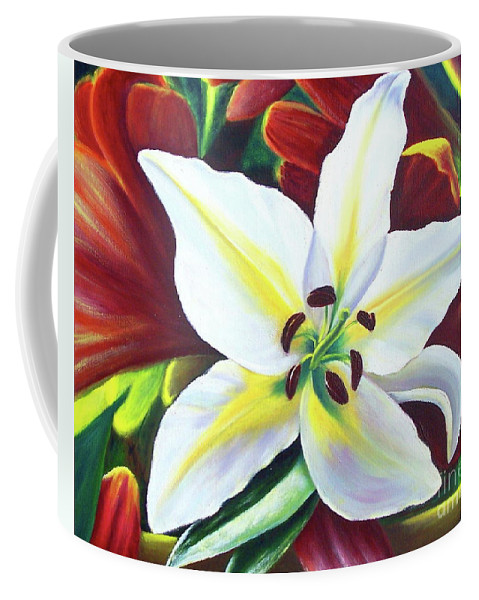 Flowers Coffee Mug featuring the painting Backlit Lilly by Sonsoles Shack