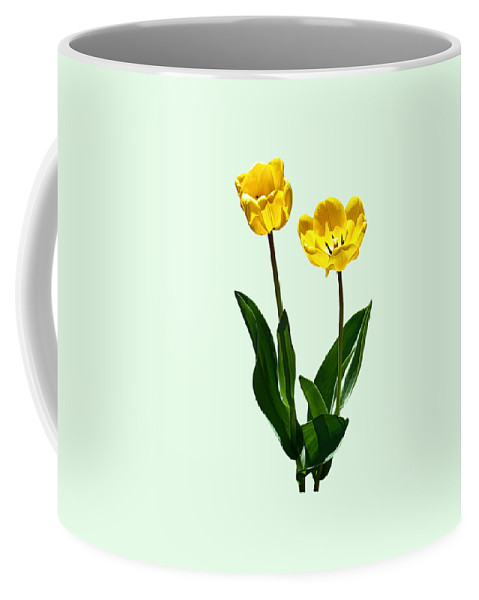 Tulip Coffee Mug featuring the photograph Backlit Yellow Tulips by Susan Savad