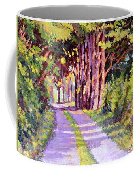 Road Coffee Mug featuring the painting Backroad Canopy by Keith Burgess