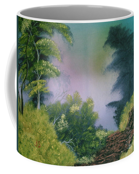 Landscape Coffee Mug featuring the painting Backwoods Mist by Jim Saltis