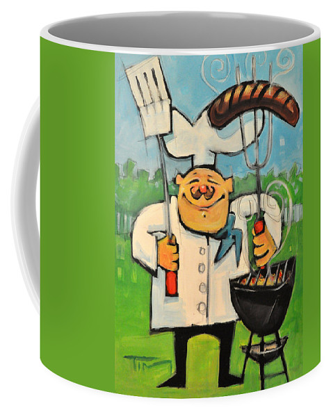 Chef Coffee Mug featuring the painting Backyard Bistro by Tim Nyberg