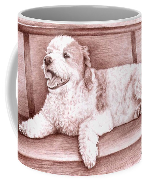 Dog Coffee Mug featuring the drawing Baco by Nicole Zeug