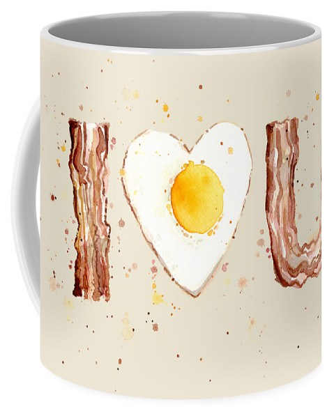 Breakfast Coffee Mug featuring the painting Bacon And Egg I Heart You Watercolor by Olga Shvartsur