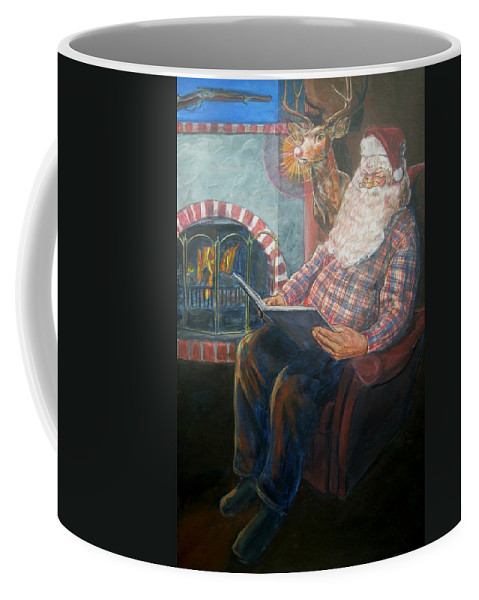 Christmas Coffee Mug featuring the painting Bad Rudolph by Bryan Bustard