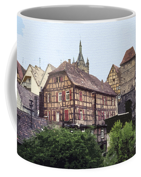Bad Wimpfen Germany City Cities Village Villages Timbered House Houses Building Buildings Structure Structures Cityscape Cityscapes Landscape Landscapes Architecture Digital Art Coffee Mug featuring the photograph Bad Wimpfen 4 by Bob Phillips