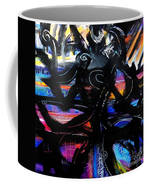 Original Painting On Canvas .abstract Coffee Mug featuring the painting Badass Black by Priscilla Batzell Expressionist Art Studio Gallery