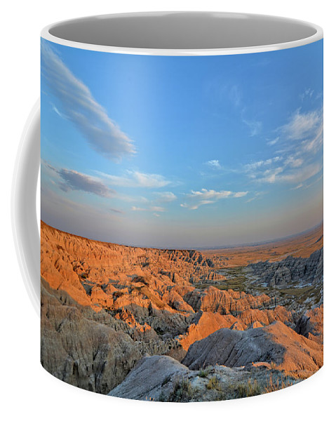 Badlands Coffee Mug featuring the photograph Badlands Evening by Bonfire Photography