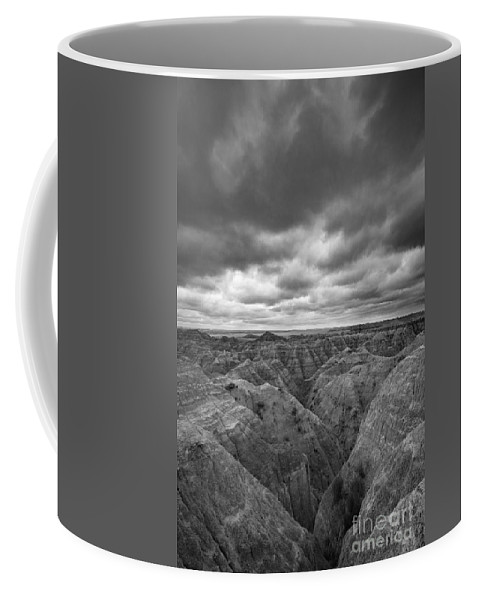 The Badlands Coffee Mug featuring the photograph Badlands White River Valley Bw by Michael Ver Sprill