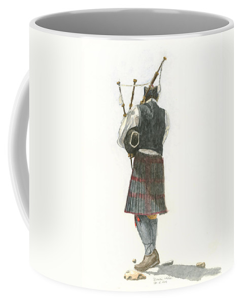 Watercolor Coffee Mug featuring the painting Bag Piper On A Maine Beach by Dominic White