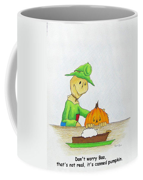 Michael Tmad Finney Coffee Mug featuring the drawing Baggs And Boo Canned Pumpkin by Michael TMAD Finney