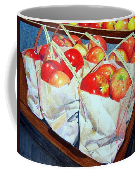 Apples Coffee Mug featuring the mixed media Bags Of Apples by Constance Drescher