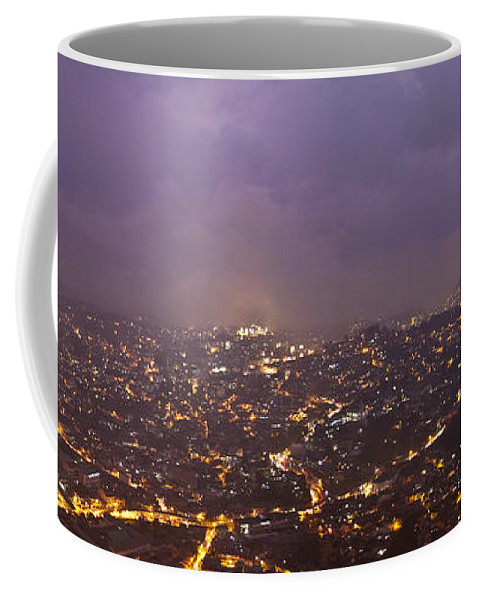Panoramic Coffee Mug featuring the photograph Baguio At Night by George Cabig